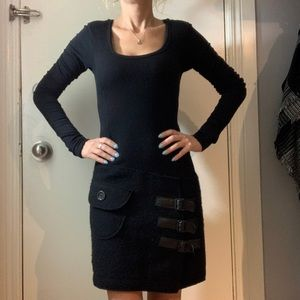 Black jersey and wool drop waisted dress